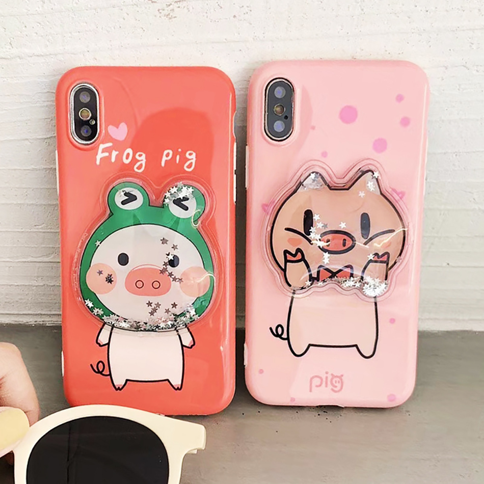 piggy phone case For iPhone X XS XR XSMAX 6 6s 6plus 7 8 7plus 8plus Liquid Quicksand Cover in Fitted Cases from Cellphones Telecommunications
