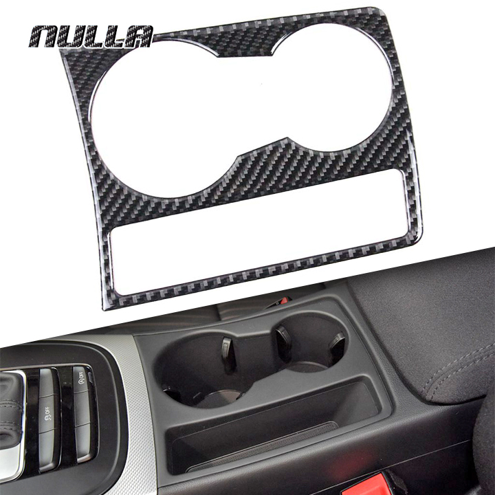 NULLA for Audi A4 B8 A5 2009 2012 - 2015 Carbon Fiber Car Water Cup Holder Decal Interior Frame Decoration Accessories Sticker