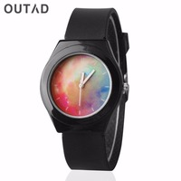 OUTAD 1PC Color Dial Silicone Band MEN Small Womens Watches Luminous Needles Personalized Leisure Students Saat