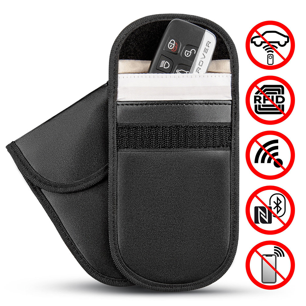 Car Key Signal Blocker Case Faraday Cage Fob Pouch Keyless RFID Blocking Bag Leather-in Key Case for Car from Automobiles & Motorcycles