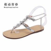 2018 Woman Sandals Women Shoes Rhinestones Chains Thong Gladiator Crystal Flat Heels Sandals Five Color Plus Size 46 4
