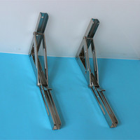 2pcs Wall Mounted Folding Table Shelf Support Bracket Spring Pair Thicken Stainless Steel Table Bracket