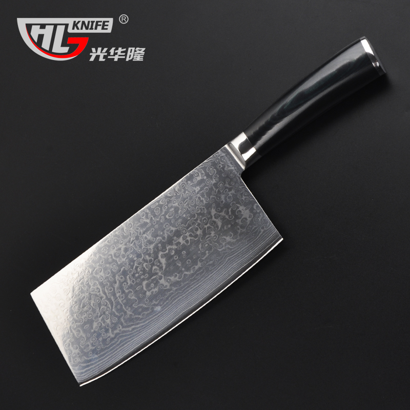 high quality damascus kitchen font b knife b font micarta handle full tang Chinese cleaver bone