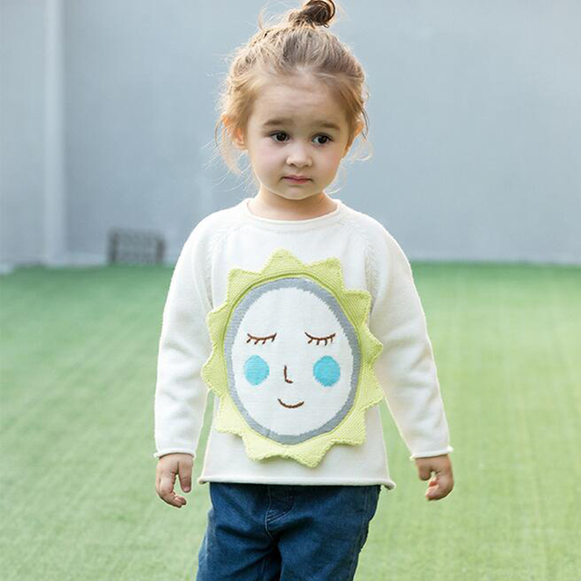 2017 Baby Girl Sweater Knitted Cartoon Sun Sunflower Tops Spring Autumn Toddler Fashion Cute Infant Boys Girls Cotton Sweater