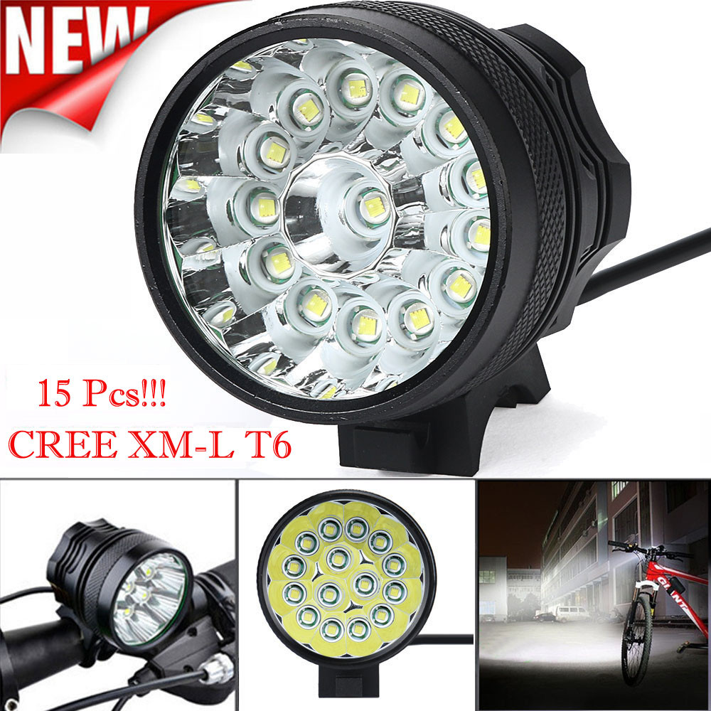 Super Bright 34000 Lm 15x CREE T6 LED 3 Modes <font><b>Bicycle</b></font> <font><b>Lamp</b></font> <font><b>Bike</b></font> Front <font><b>Light</b></font> <font><b>Headlight</b></font> Outdoor <font><b>Cycling</b></font> Fishing Camping <font><b>Torch</b></font> image