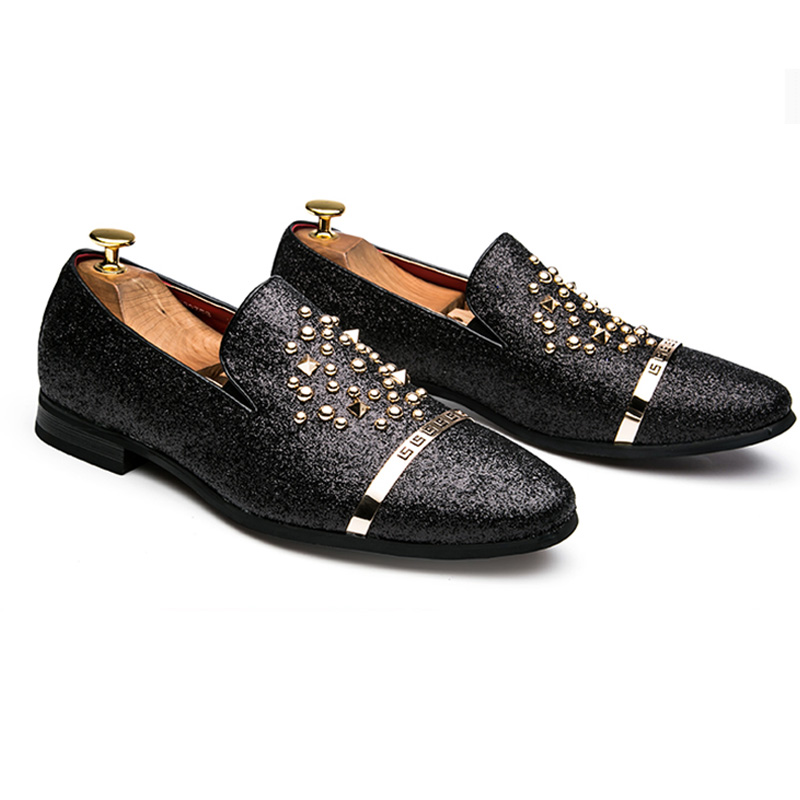 ce4befdf02f3 AGSan Luxury Brand Men loafers Silver Black Diamond Rhinestones Spiked  Loafers Rivets shoes Red Bottom Wedding Party Shoes-in Men s Casual Shoes  from Shoes ...