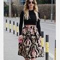 Armazenamento flora mulheres floral imprimir elastic cintura alta plissada longa saia midi skater saia 2017 verão nova elegância vintage