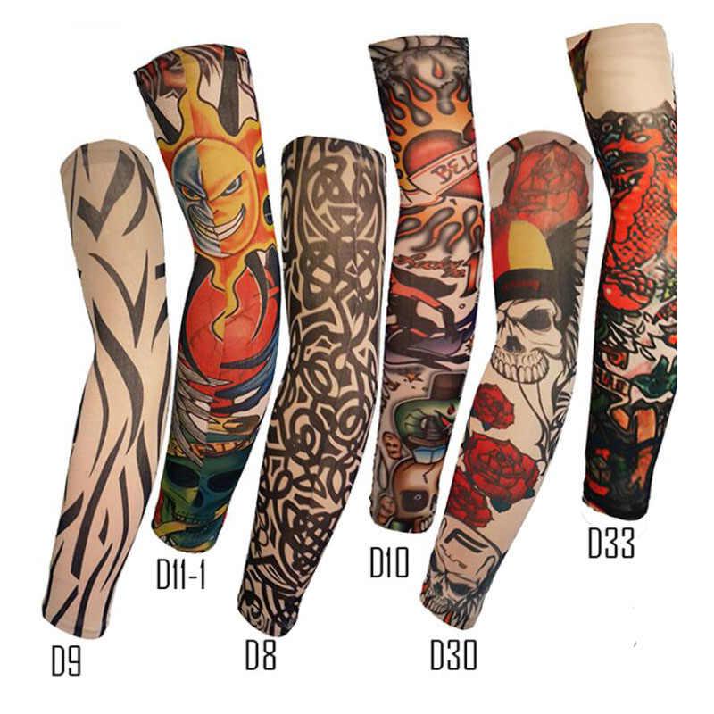 아이스 슬리브 Unisex 여름 야외 스케이트 보드 UV 보호 유니폼 높은 탄성 통기성 문신 문신 인쇄 팔 슬리브