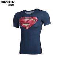 Moto TUNSECHY brand 3D Printed superman Costume Compression Shirt Men Short sleeve Fitness Crossfit T Shirts Male Clothing Tops