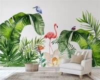 Beibehang Custom Interiors Painting Papel De Parede 3d Wallpaper Nordic Tropical Plants Flamingo Background Wall Paper