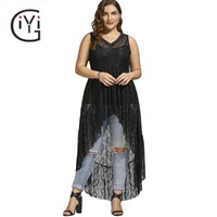 GIYI Plus Size 5XL High Low Sexy See Through Lace Long Blouse Shirt Women Summer 2017 Oversized Vintage Sleeveless Top Big Size