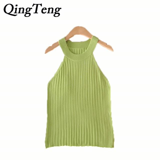QingTeng Sexy Verão Topos Mulheres Tanque Fino de Lã de Malha Elástica Camisa Halter Bralette Clássico Safra 2017 Encabeça Mulheres Camis