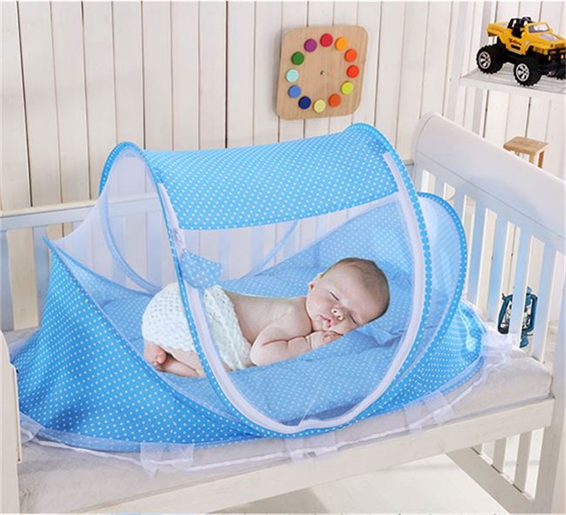 Portable Kids Comfortable Baby Travel Bed Sealed Repellent Mosquito Net Mattress Pillow Mesh Easy Storage Bag Baby Tent Bed Crib