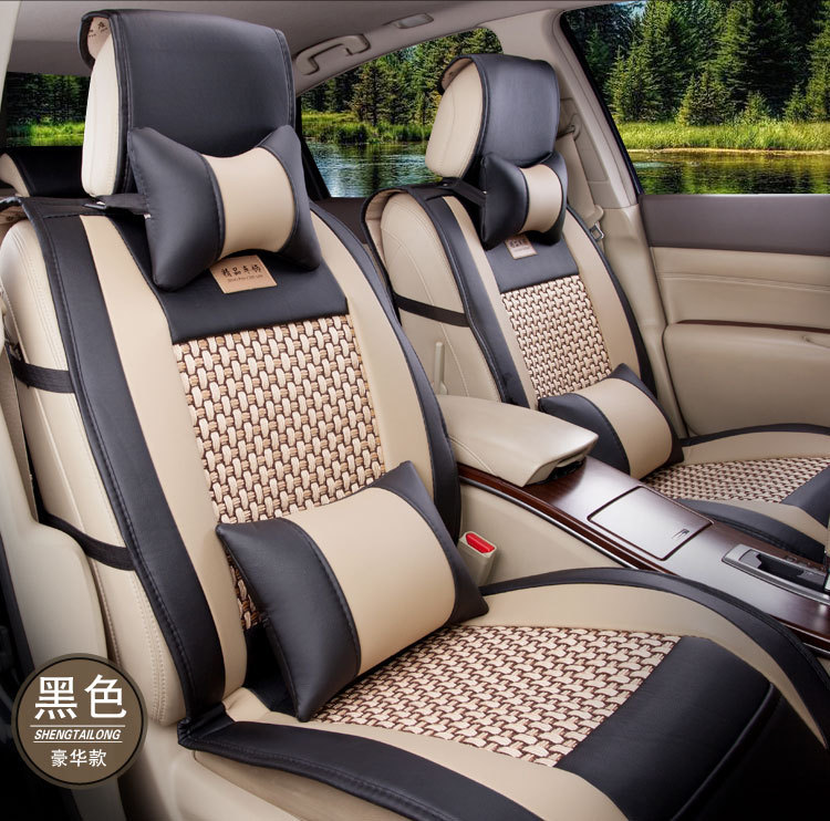 ФОТО Luxury Leather car seat cushion for Universal car Front & Rear Complete Set ventilate car seat covers four seasons