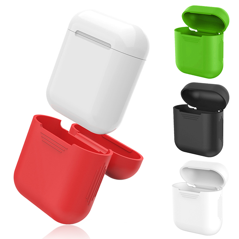 Silicone For Apple Airpods Proof Protector Cover Pouch Anti Lost Case  Wireless Earphone Accessories White Black Red