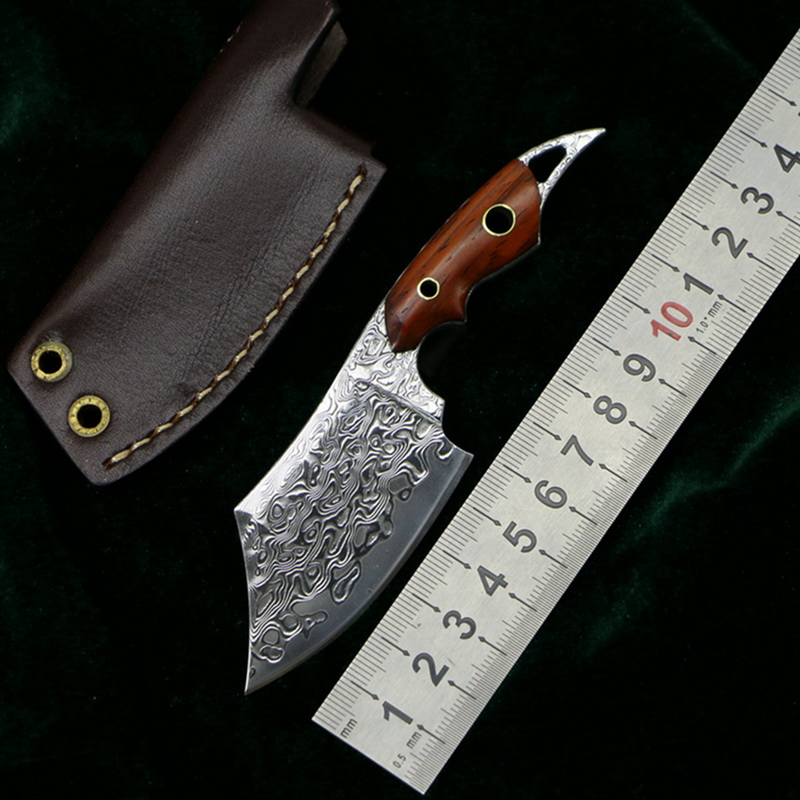LOVOCOO Mini BBQ pattern steel rosewood handle fixed blade kitchen knife outdoor camping hunting pocket fruit