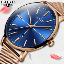 LIGE New Fashion Brand Women Wrist Watches Super Slim Blue Mesh Stainless Steel Watches Women Date Quartz Clock Zegarek Damski