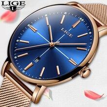 LIGE موضة جديدة العلامة التجارية النساء ساعات المعصم سوبر سليم الأزرق شبكة ساعات الفولاذ تاريخ المرأة كوارتز ساعة Zegarek Damski