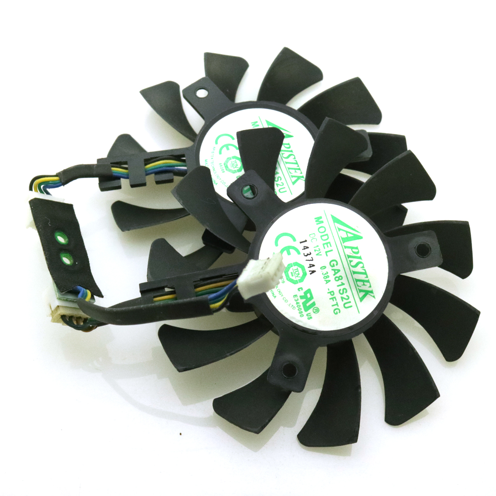 Free Shipping GA81S2U 12V 0.38A 75mm 40*40*40mm 4Pin Fan For ZOTAC GeForce GTX 970 4GB Graphics Card Fan