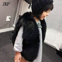 На зимнем меху жилет дети девушка лиса Мех животных жилет одежда пальто Теплый жилет для детей куртка Fox Baby Мех животных пальто