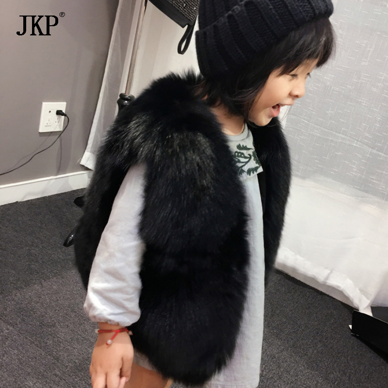 Winter Fur Vest Children Girl Fox Fur Vest Clothes Coat Kids Warm Waistcoat jacket Baby Fox Fur Coat etosell women faux fox fur shaggy waistcoat long hair lapel vest coat camel l