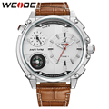 WEIDE New Arrival Fashion Men's Watch Quartz Movement 30m Waterproof Multiple Time Zone White Dial Leather strap Watches For Men