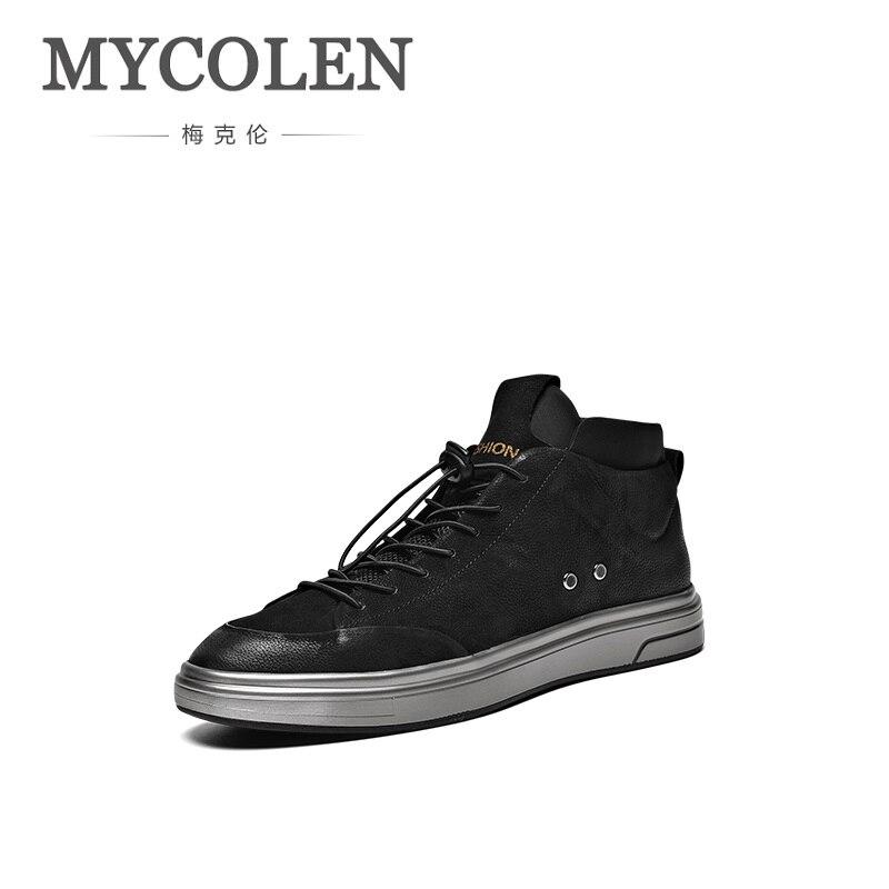 Modo Pelle Di Mycolen Scarpe Top 2018 Uomini Uomo In Elastica Microfibra  Sneakers Alte Arrivo Il Casual Nuovi Nero Fascia aqwx4HwX c35d36ebb2e
