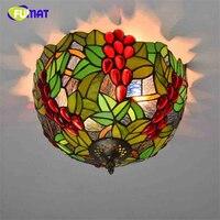 FUMAT Amerikanischen Kreative Trauben Deckenleuchte Frankreich Pastoralen Flur Wohnzimmer Glasschirm Deckenleuchte LED Glasmalerei Lampe