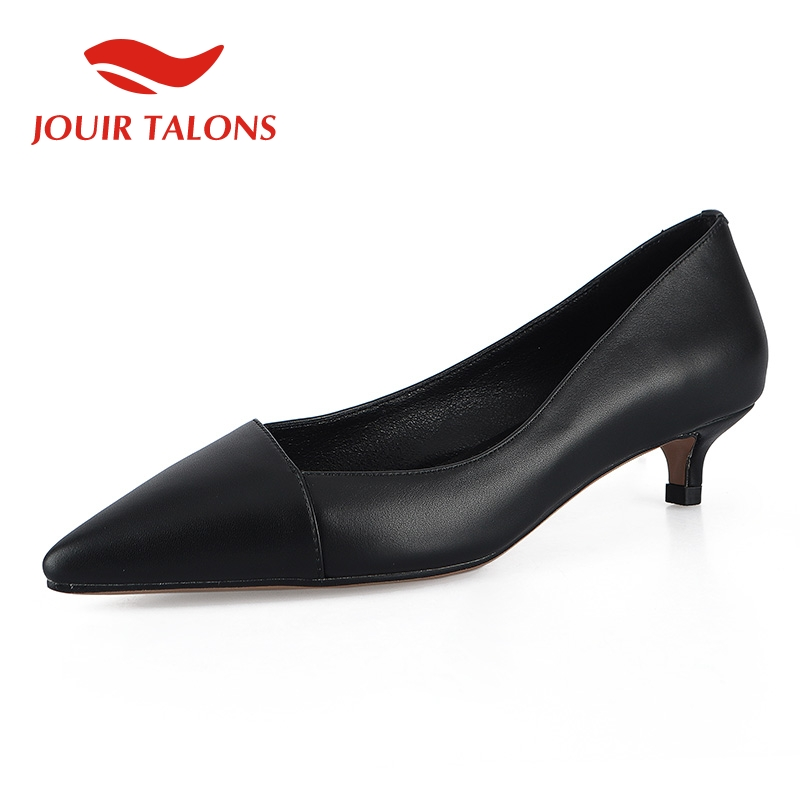 JOUIR TALONS 2019 genuine leather sheepskin office lady woman Shoes sexy pointed toe elegant low heels
