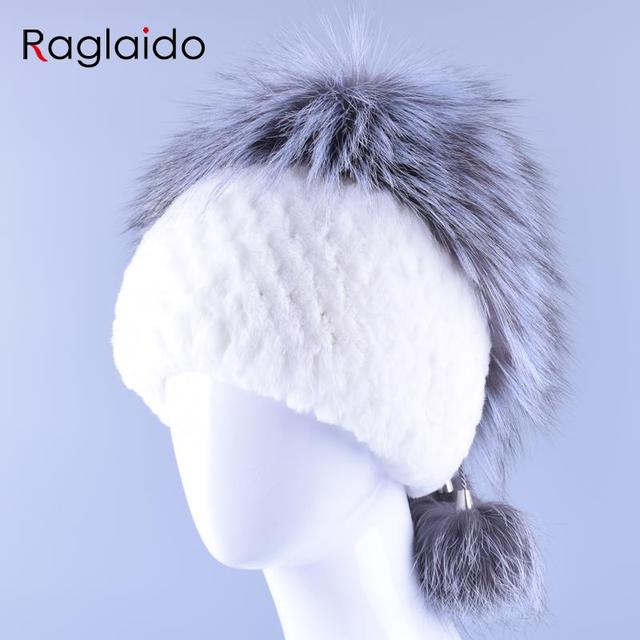 Authentic Rabbit Fur Hat Very Soft Beanie New with Fox Fur Top N Ball Accessories Hats High Quality Women Winter Cap LQ11154