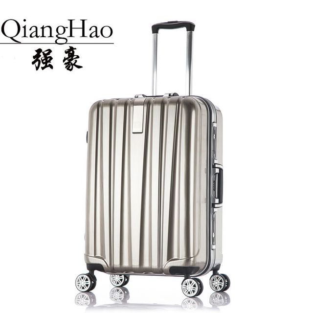 QiangHao ! 20 24 28 Inch Trolley Gold Pink Silver Black Aluminium Frame Luggage Marco aluminio 29 Suitcases Travl Bag