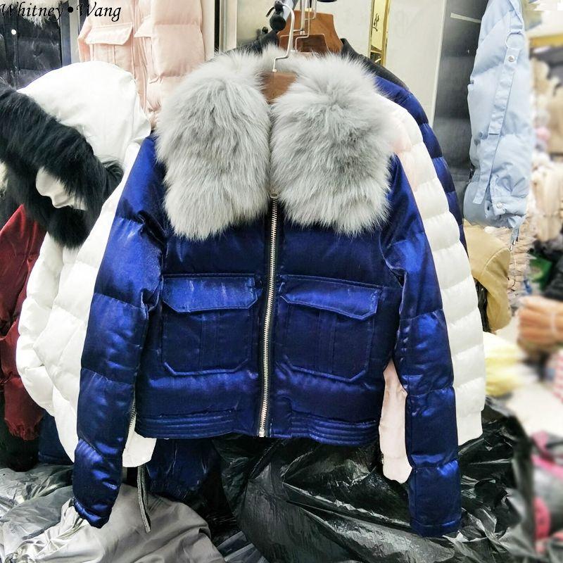 Femmes D'hiver Réel Fourrure Automne Parkas Hiver Blouson Fox Manteau Streetwear Whitney Mode Col 2018 Wang Métallique De Outwear qYCWwZO
