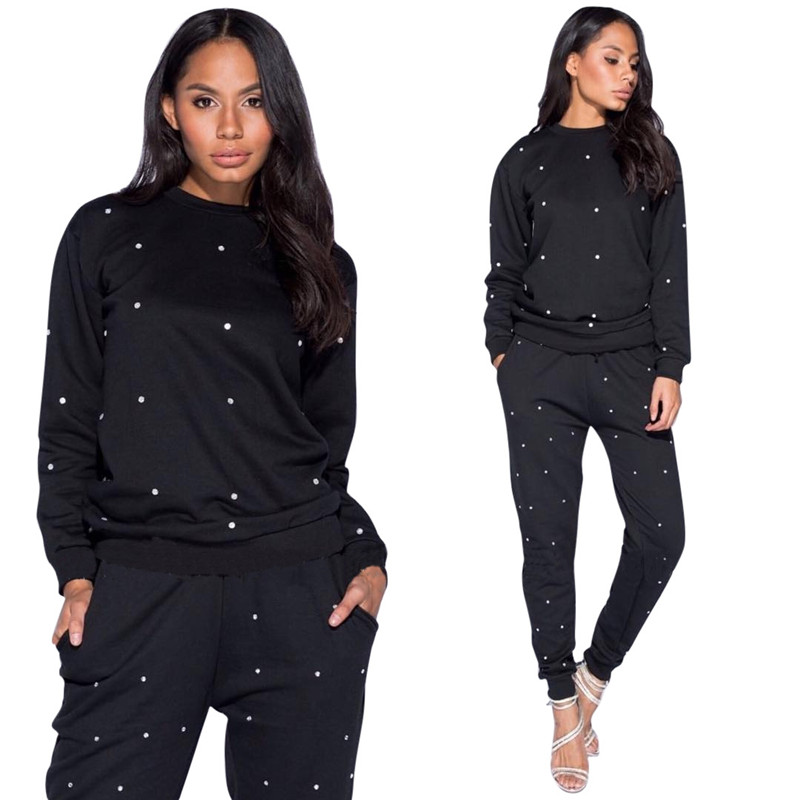 256c2a659209 Women's Loungewear Tracksuits Two Piece Set Pullover Hoodies Sweatshirt Top  and Pants Beading 2 Piece Sets Leisure Sweat Suits