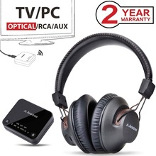 Avantree Wireless Headphones for TV with Bluetooth Transmitter SET, For Optical/RCA/AUX Ported TVs, Plug & Play, Long Range