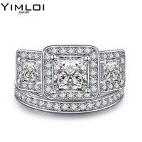 Luxury Female Engagement Ring Purple 5A Zircon Cz Sterling Silver Color Birthstone Wedding Band Ring Set