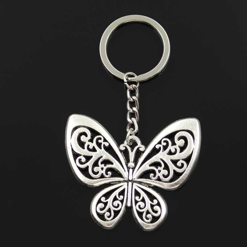 New Fashion Keychain 50x57mm Hollow Butterfly Pendants DIY Men Jewelry Car Key Chain Ring Holder Souvenir For Gift