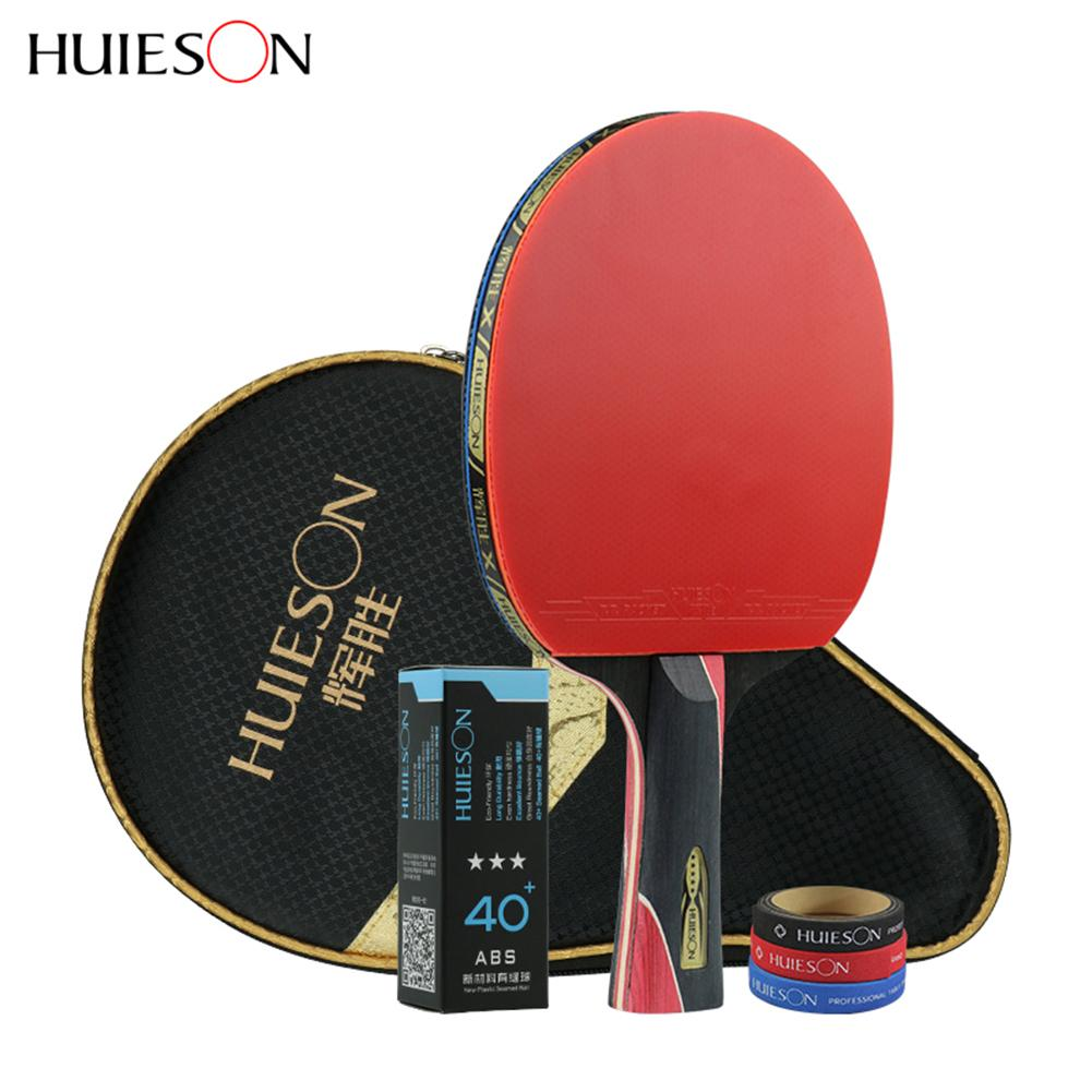 все цены на Huieson 5 Star Carbon Fiber Table Tennis Racket Set Double Pimples-in Rubber Ping Pong Rackets онлайн