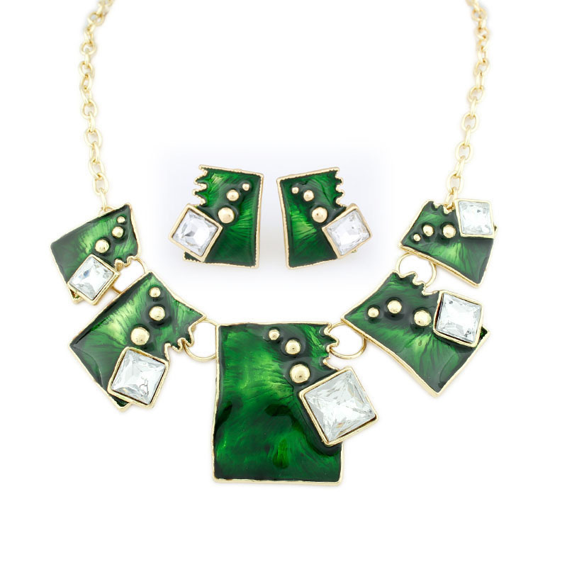 Enamel Jewelry statement Necklace And Earring Set Crystal Jewelry Set for women Fashion Square 6 colors Jewelry Sets