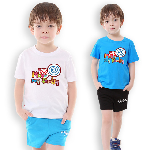 665ee9730 Boy clothes cotton t-shirt shorts sets sport suit for boy summer sports wear  printing short sleeves Lollipop children clothing