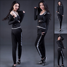 [new]3 Pcs Fitness Sports Clothes For Women Summer Trousers + jacket vest Leisure Outdoor Yoga Gym Female Costume