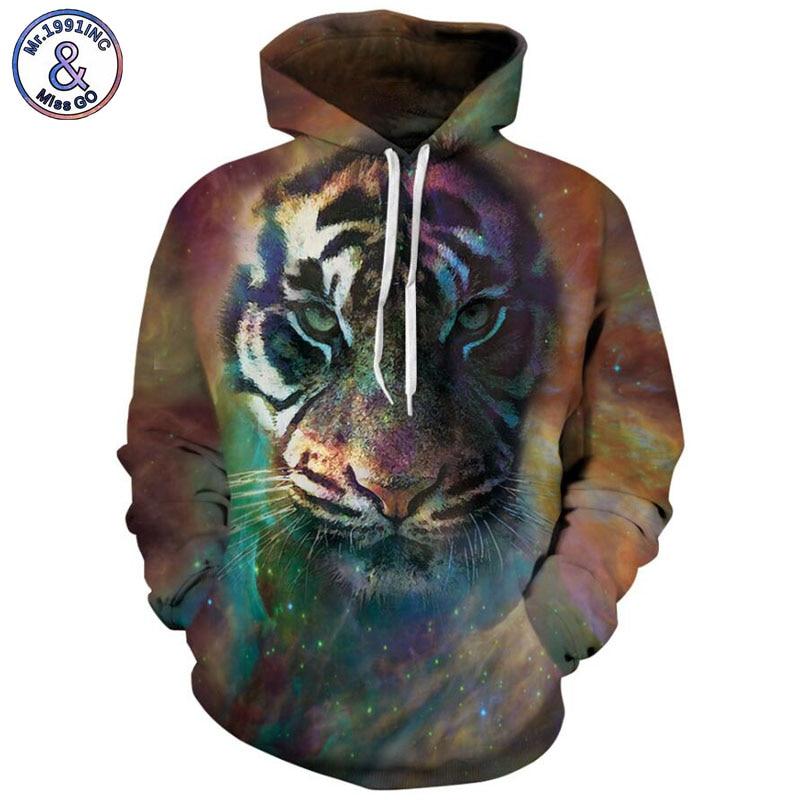 Mr.1991INC Newest Style starry sky tiger Printing Casual Sweatshirts Men/women hoodie sweatshirt Hot Hooded Pullovers S-3XL M067