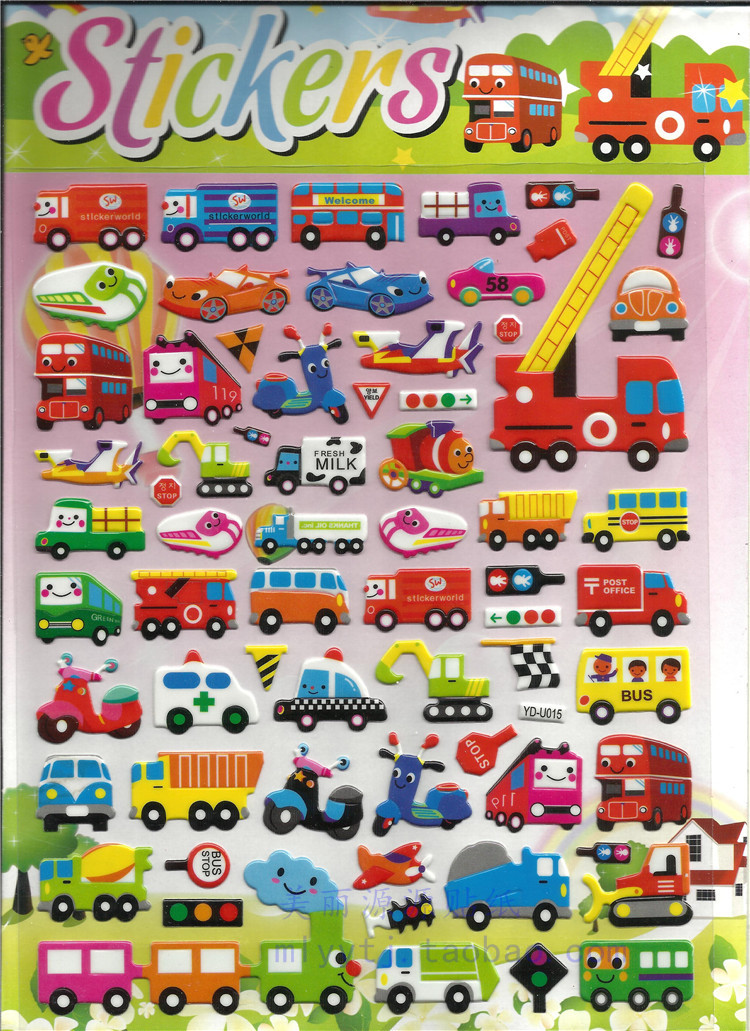 Big 16*28cm Car Aircraft Motorcycle 3D Puffy Bubble Stickers Cartoon Foam Kids Toys DIY Refrigerator Backpack Car-styling