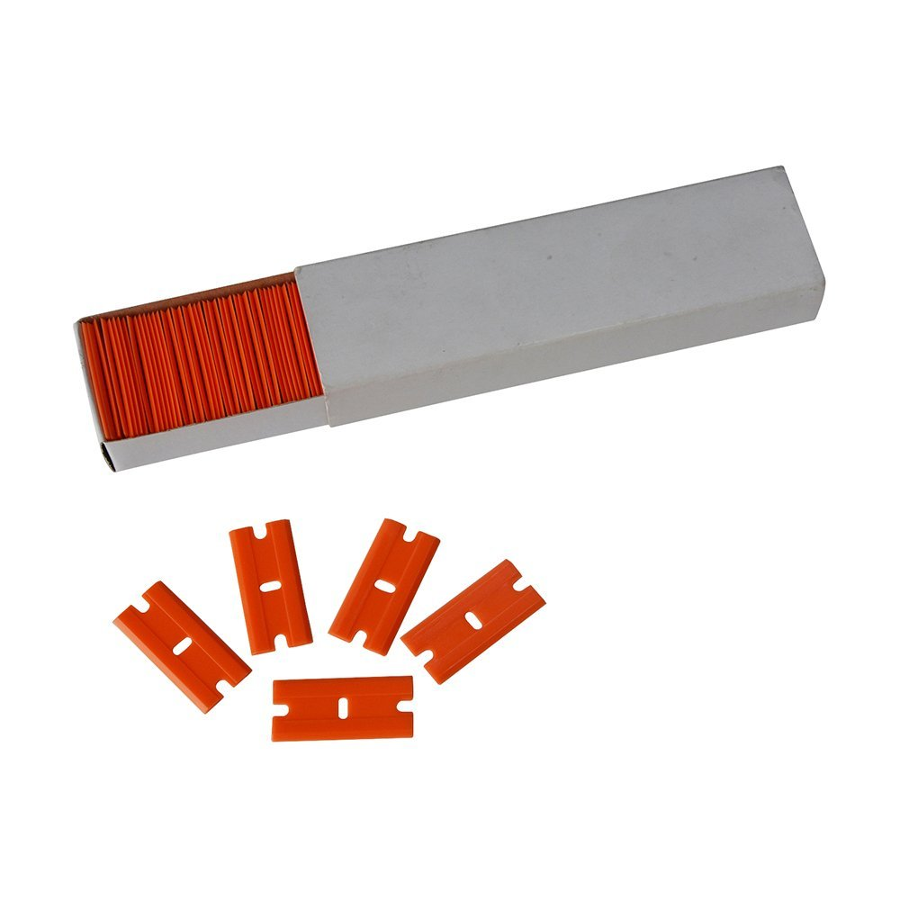 EHDIS 100pcs 1 5 Plastic Razor Blades Scraper Double Edged Scraper Blade for Sticker Glue Remover