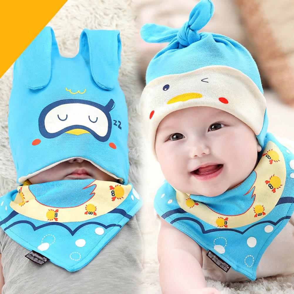 2 Pcs/Set Fashion Autumn Winter Newbron Infant Hat + Scarf Cotton Beanie Kids Boys Girls Cap Bib For 0-18 Months Baby FJ