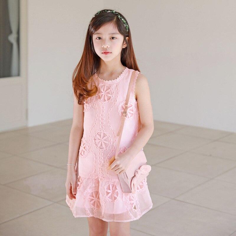 7bb3771b115 Korean Style New Summer Girl Dress Pink Cotton Lace Flower Sleeveless  Hollow Mini Princess Dress Cute. sku  33003466568