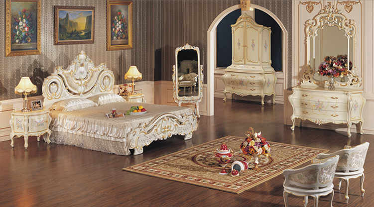 Distinguished Classic European Antique White Canopy Bed with Colorful Floral Painting