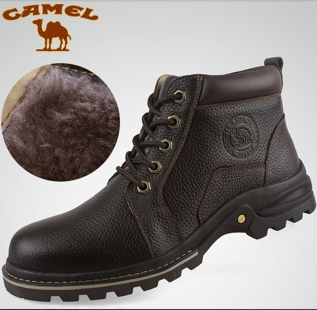 2016 Plus size men Cowhide shoe winter outdoor Casual fashion warm man shoes genuine leather wool 45 46 47 male flats boots 0711