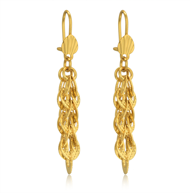 Brand Luxury Indian Jewelry Gold Plated Heart Long Drop Earrings For