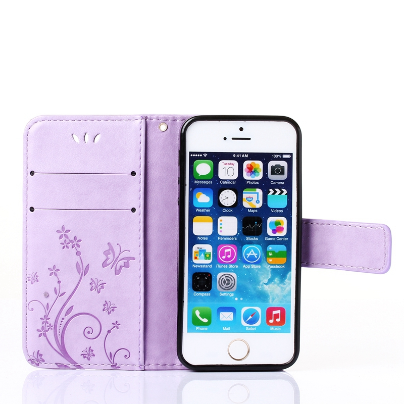 Fashion Butterfly Flower Design Flip PU Leather Wallet Case Phone Soft Bags Cover for Apple iphone 5S 5 SE 5G ...