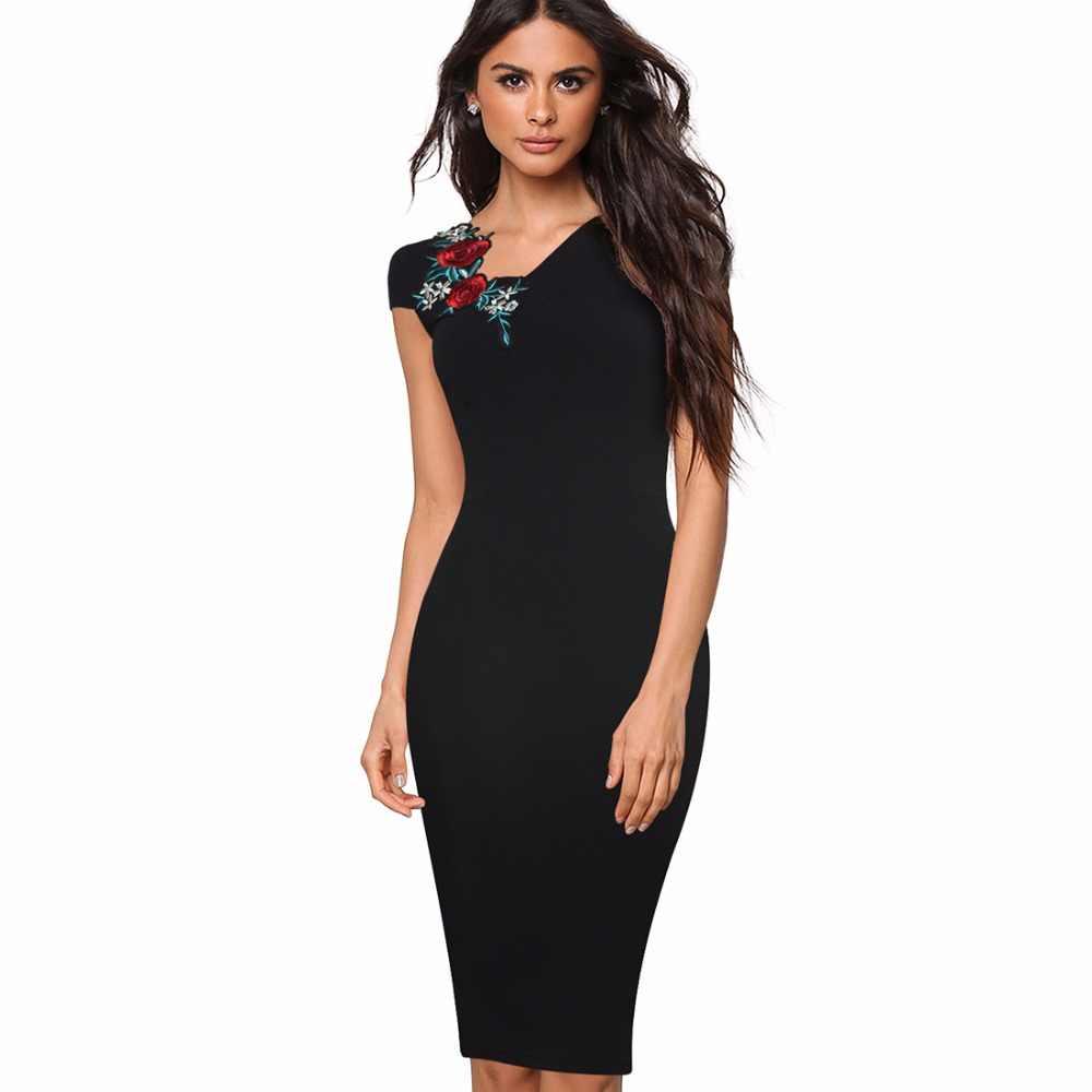 5e3422e373c Винтаж вышитый цветок аппликация женское платье летние элегантные офисные  Бизнес Оболочка Bodycon платье карандаша eb377